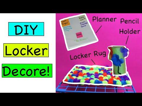 DIY LOCKER DECORE 2017!! Locker Rug, Organizer, Pencil Holder, and More!