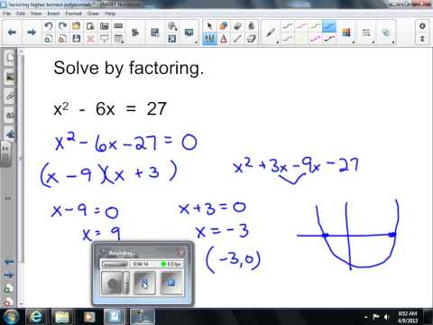 Solve a Quadratic by Factoring Algebra One