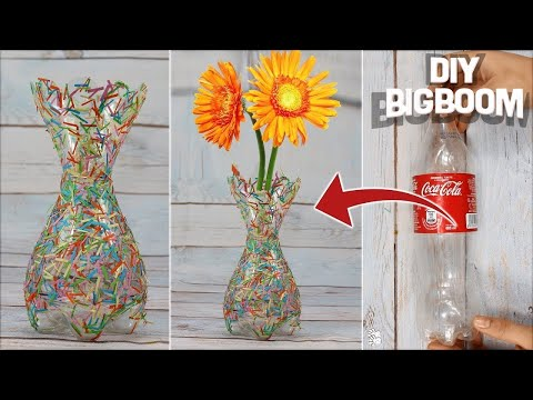 How to make flower vase with plastic bottle & Paper | Supper quicky & Easy | DBB