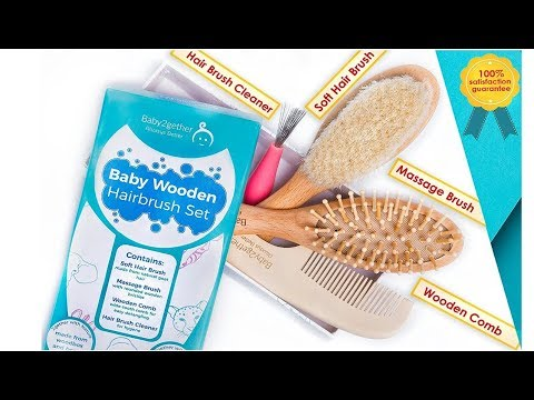 Dave & Bella try New Baby Wooden Hairbrush Set by Baby2gether- 3 Brushes + Cleaner