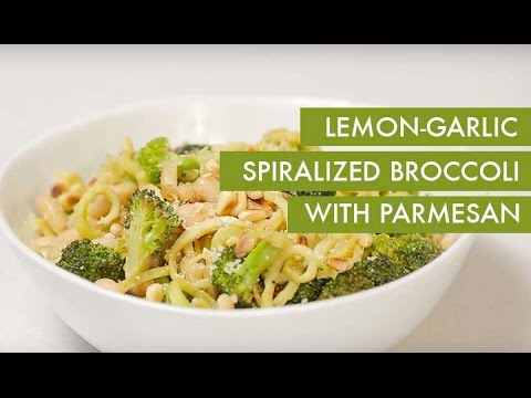 Lemon-Garlic Spiralized Broccoli with Parmesan I Gluten-Free +Vegetarian Spiralizer Recipe