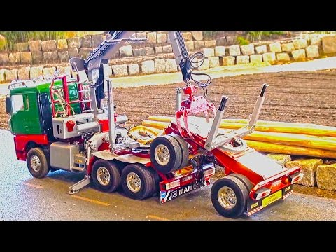 BIG RC Log Truck loading it´s Trailer! RC Timber-Time! GETTIN WOOD! RC Logging Truck!