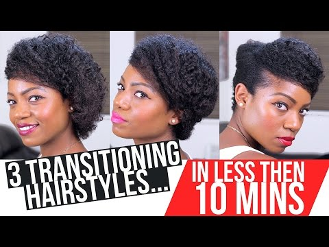 TRANSITIONING HAIRSTYLES (3 Styles) (Less then 10 MINS) (BRAID OUT Hair)