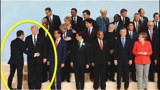 WATCH THE FRENCH PRESIDENT WALK UP TO TRUMP AND WHAT HE DID IS MAKING JOURNALISTS SCREAM!