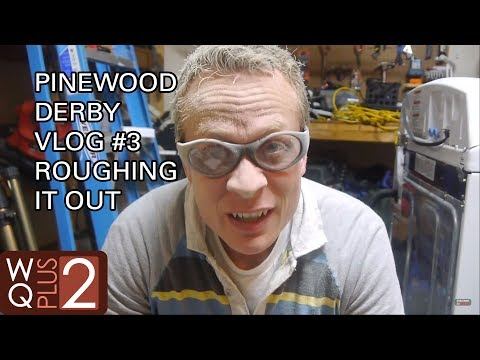 Roughing out the pinewood derby cars with the Dremel tool.  - Part 3