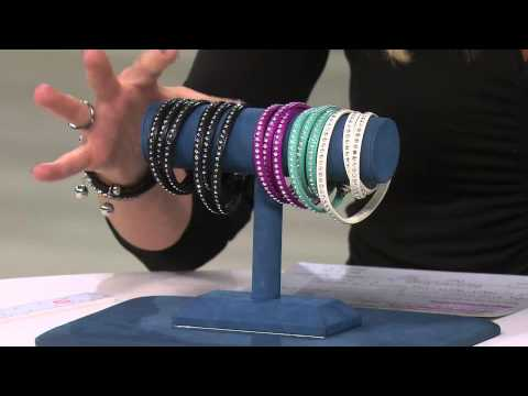 Stainless Steel Crystal Leather Wrap Magnetic Clasp Bracelet with Stacey Stauffer