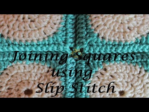Joining Granny Squares using Slip Stitch through both loops of each stitch