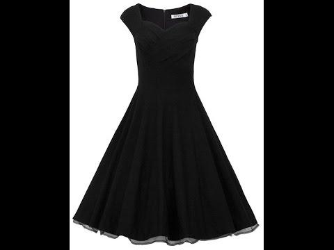 MUXXN® Women 1950s Vintage Retro Capshoulder Party Swing Dress