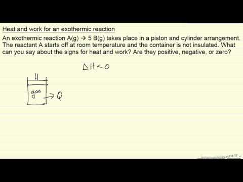 Heat and Work for an Exothermic Reaction (Example)