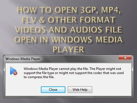 How To Open 3gp, Mp4, Flv & Other Format Videos And Audios File Open In Windows Media Player