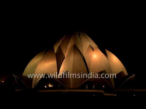 Lotus Temple lit up beautifully at night, Delhi