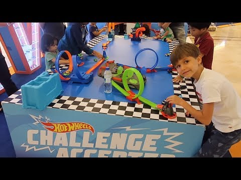Playing Hot Wheels Toys in a Shopping Mall