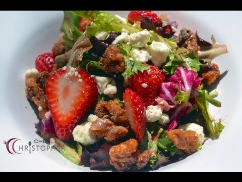 Spring Mix Salad with Candied Walnuts and Raspberry Vinaigr