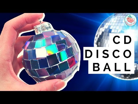 New Year's Crafts Idea - DIY Disco Ball CD Ornament - How to Make a Disco Ball w/ Old CDs & Recycle