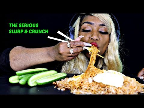 ASMR 4x's SPICY NOODLES EXTREME SLURPINESS, MESSINESS