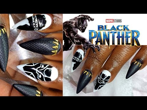 How To Black Panther Inspired Nail Art Design | Acrylic Nails | Infill
