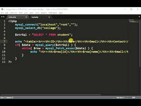 Load/Select Data from MySQL Database using jQuery + AJAX + PHP Part1