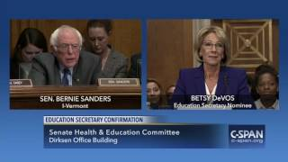 Exchange between Sen. Bernie Sanders and Betsy DeVos (C-SPAN)