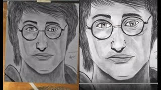 How to draw sketch of herrypotter timlapse drawing.  Portrait sketch of harrypoter