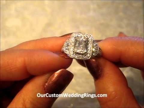 KI-117097 18k vintage style emerald cut diamond halo engagement ring, shown still with a ruby