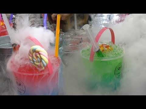 Thailand Street Food - Smoking Mocktails with Homemade Whipped Cream
