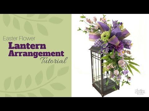 Easter Lantern Flower Arrangement Tutorial | Lantern Swag DIY | Lantern Topper