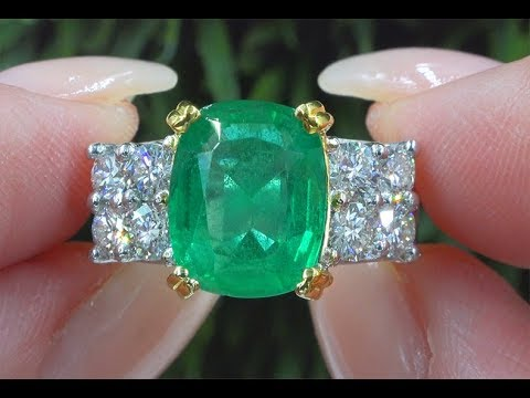 GIA 5.86ct  VS Clarity Top Gem Green Color Emerald & Diamond Ring