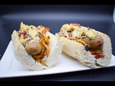 Roasted bratwurst with peppers and onions