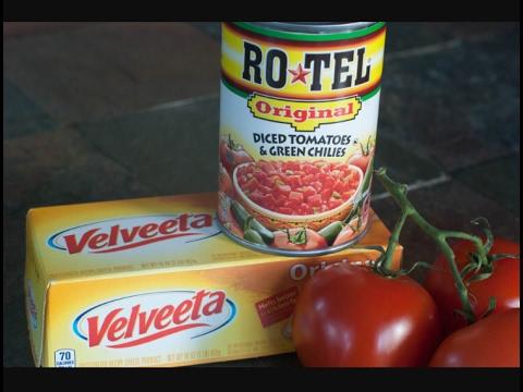 Velveeta & Rotel Queso, YUM.