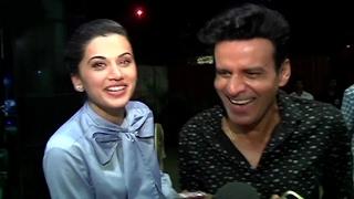 CUTE Taapsee Pannu With Manoj Bajpayee At Naam Shabana Trailer Screening