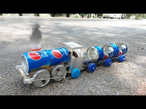 How to Make a Train (Electric Train) Out of Pepsi cans - Toy powered train