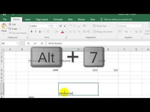 How to insert bullets in Microsoft excel