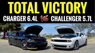 Dodge Charger SCAT PACK 6.4L vs Challenger RT 5.7L | STREET RACE!