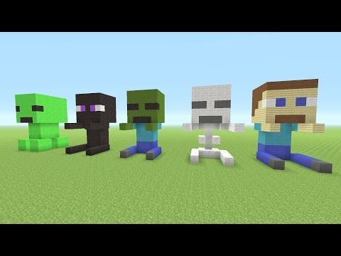 Minecraft Tutorial: How To Make Baby Minecraft MOB Statues (Creeper, Enderman, Zombie, and More)