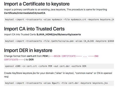 top java keytool keystore commands