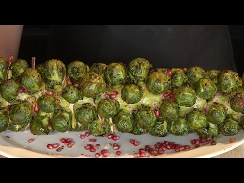 Roasted Brussels Sprout Stalk with Pomegranate Glaze | Recipe