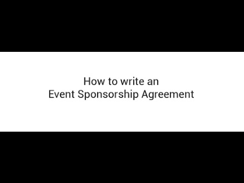 How to Write an Event Sponsorship Agreement