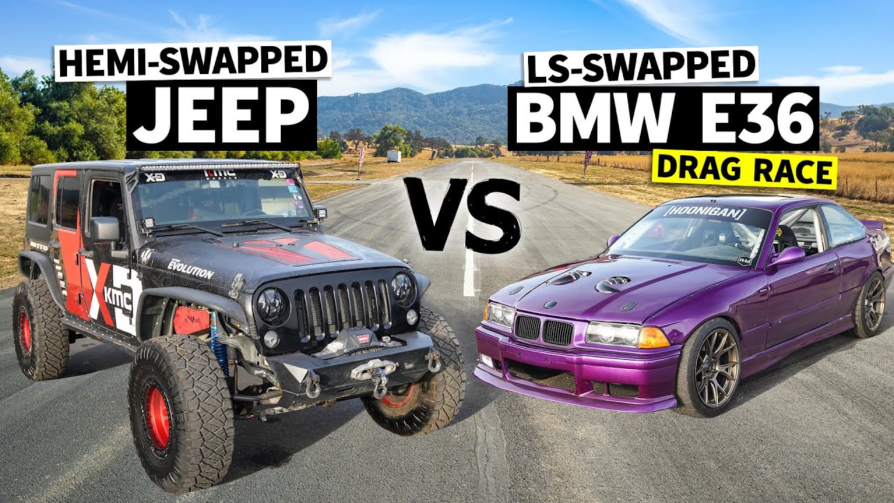 LS vs Hemi in a V8 Swap Battle! 6.4l Hemi Jeep Races our Knuckle Busters BMW M3