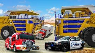 Download Бешеный БЕЛАЗ 75710 против БТР 80 грузовика и полиции  Игровой детский мультик про машинки Video