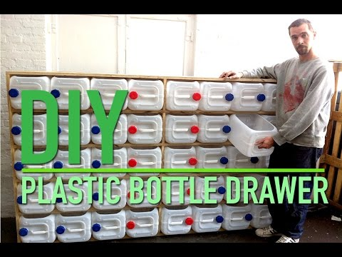 Upcycled plastic bottle drawer storage system
