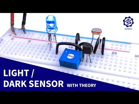 Light Sensor circuit on Breadboard + Darkness Detector | LDR & Transistor Projects