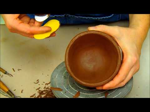 Cleaning Pinch Pot Cup Forms Ceramics I (2nd day)