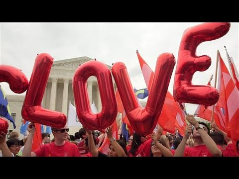 Gay Marriage Supporters Celebrate Outside Supreme Court