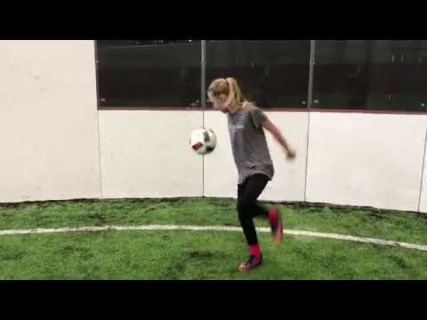 11-Year old Grace Practicing her Soccer Juggling