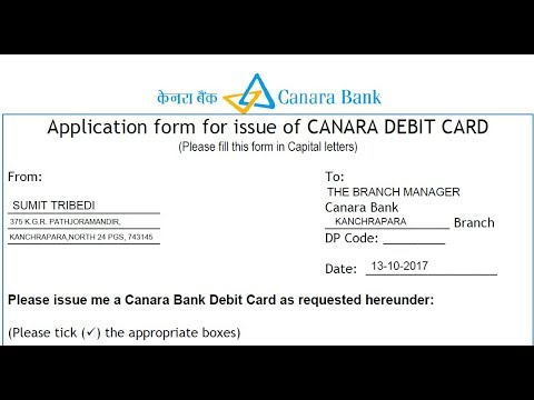 How to fill Canara bank Debit card application form ? ||  CANARA DEBIT CARD || Hindi