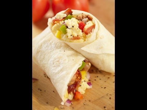 How To: Make breakfast Burritos with Eggs, Sausage, Onions, Tomatoes and BACON!