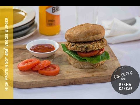Soya and Veggie Burger | Healthy Burger Recipe | High Protein Veggie Burger