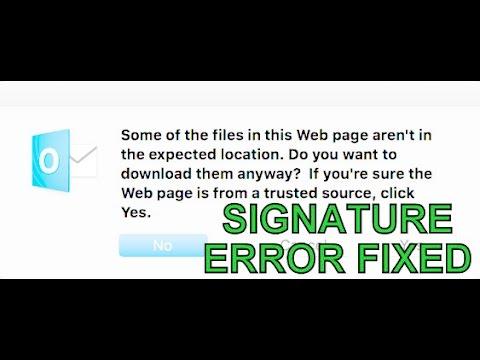 Mac Office 2016 Outlook Signature Error Fixed