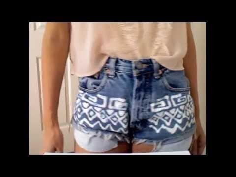 DIY Tutorial: Tribal Inspired High Waisted Jean Shorts
