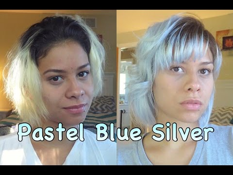 How to Pastel Silver Blue Hair Dye At Home Safely!!! No Bleach